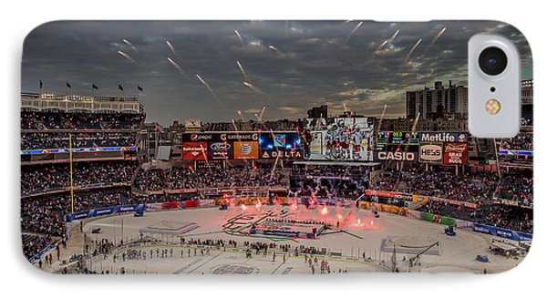 Hockey At Yankee Stadium IPhone Case by David Rucker