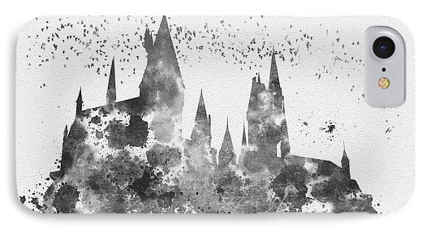 Hogwarts Black And White IPhone Case by Rebecca Jenkins