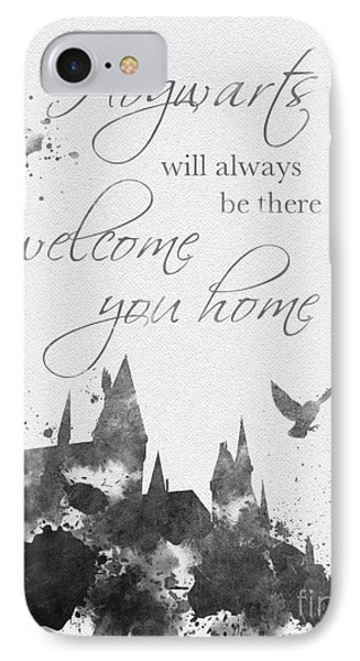 Hogwarts Quote Black And White IPhone Case by Rebecca Jenkins