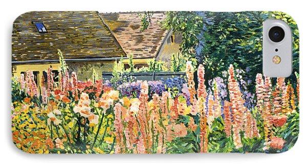 Hollyhocks Garden IPhone Case by David Lloyd Glover