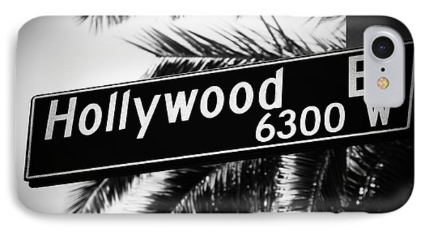 Hollywood Boulevard Street Sign In Black And White IPhone Case by Paul Velgos