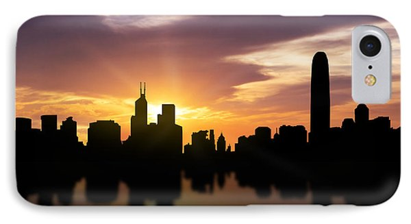 Hong Kong Sunset Skyline  IPhone 7 Case by Aged Pixel