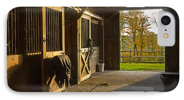 Horse Barn Sunset IPhone Case by Edward Fielding