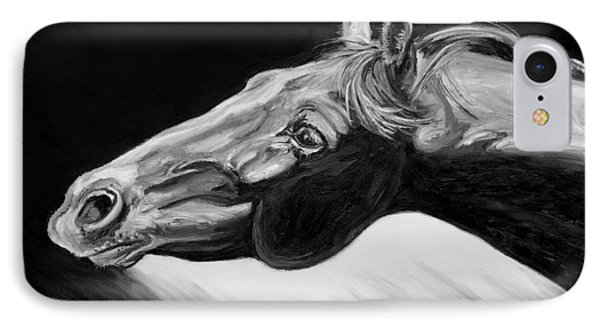 Horse Head Black And White Study Phone Case by Renee Forth-Fukumoto