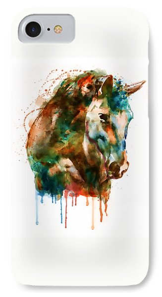 Horse Head Watercolor IPhone Case by Marian Voicu