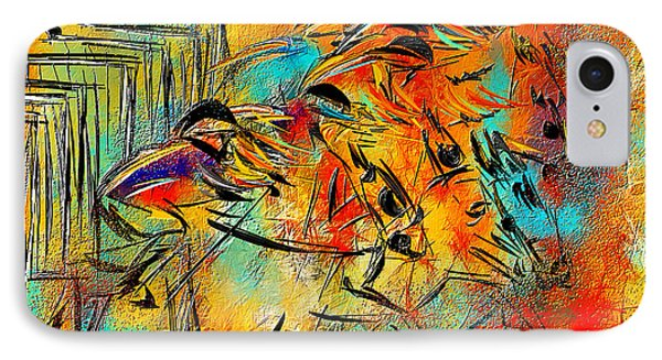 Horse Racing Colorful Abstract  IPhone Case by Lourry Legarde
