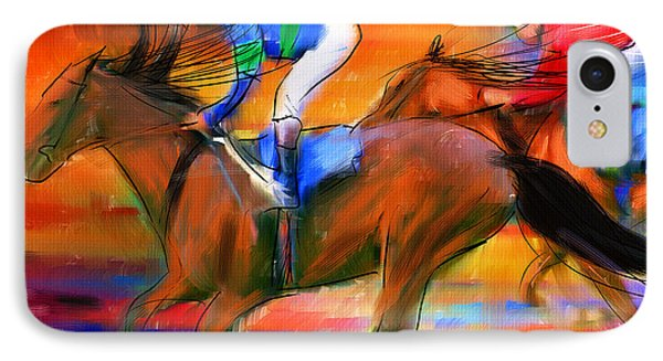 Horse Racing II IPhone Case by Lourry Legarde