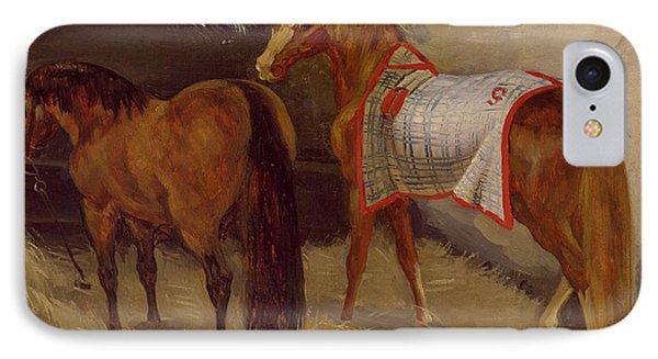 Horses In The Stables  IPhone Case by Theodore Gericault