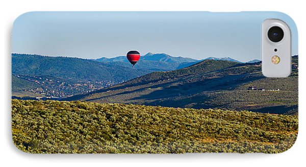 Hot Air Balloon Flying In A Valley IPhone Case by Panoramic Images