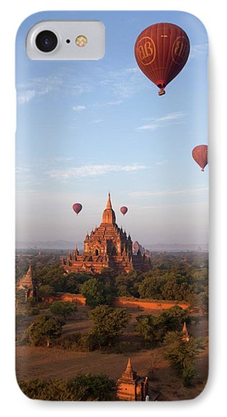 Hot Air Balloons And Pagodas IPhone Case by Peter Menzel
