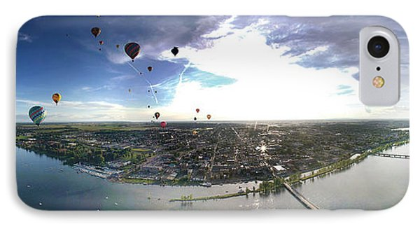 Hot Air Balloons Flying Over A River IPhone Case by Panoramic Images
