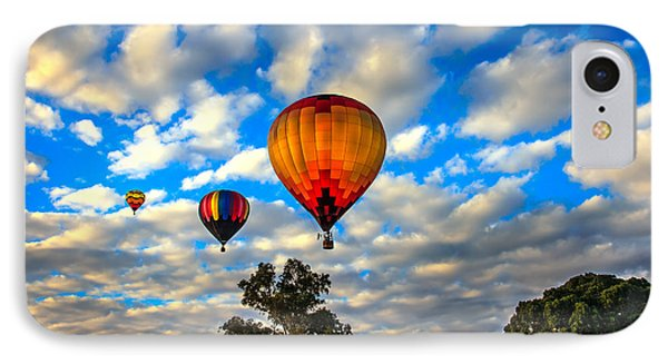 Hot Air Balloons Over Trees IPhone Case by Robert Bales