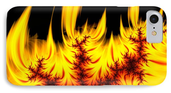 Hot Orange And Yellow Fractal Fire Phone Case by Matthias Hauser