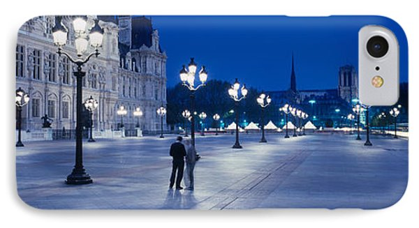 Hotel De Ville & Notre Dame Cathedral IPhone Case by Panoramic Images