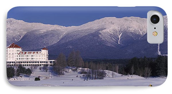 Hotel Near Snow Covered Mountains, Mt IPhone Case by Panoramic Images