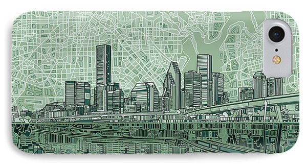 Houston Skyline Abstract 2 IPhone Case by Bekim Art