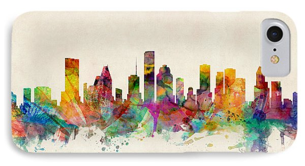 Houston Texas Skyline Phone Case by Michael Tompsett