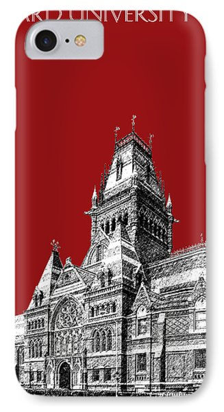 Harvard University - Memorial Hall - Dark Red IPhone 7 Case by DB Artist