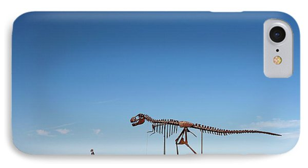 Human And T. Rex Skeletons IPhone Case by Jim West