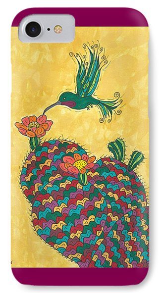 Hummingbird And Prickly Pear Phone Case by Susie Weber