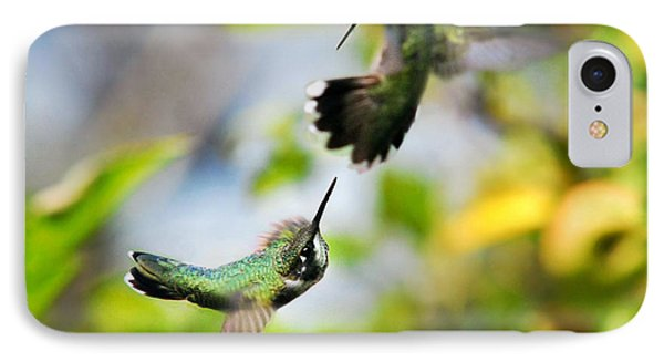 Hummingbirds Ensuing Battle IPhone Case by Christina Rollo