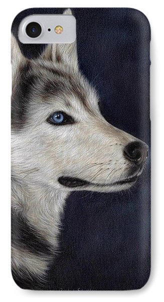 Husky Portrait Painting IPhone Case by Rachel Stribbling