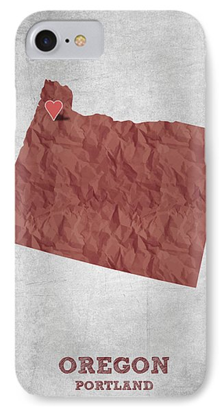 I Love Portland Oregon- Red IPhone 7 Case by Aged Pixel