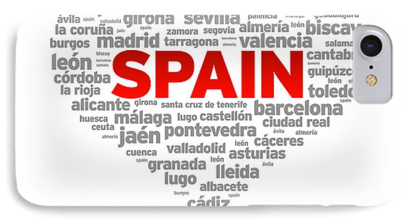 I Love Spain IPhone Case by Aged Pixel