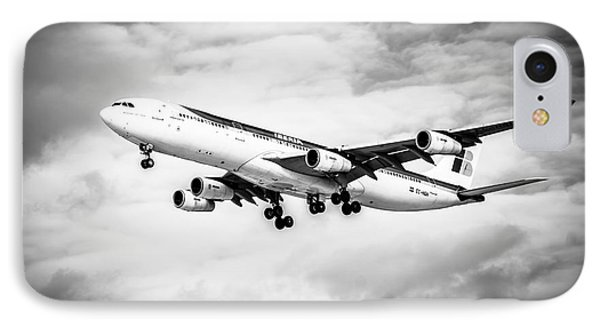 Iberia Airlines Airbus A340 Airplane In Black And White IPhone Case by Paul Velgos
