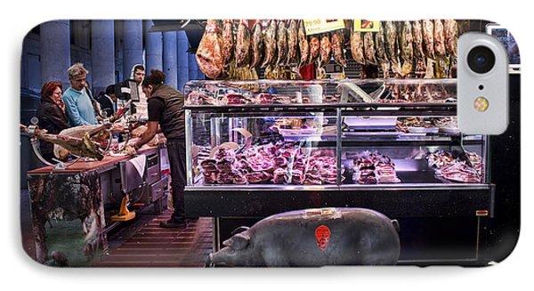 Iberico Ham Shop In La Boqueria Market In Barcelona IPhone Case by David Smith