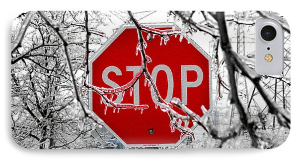 Iced Stop Sign IPhone Case by Valentino Visentini