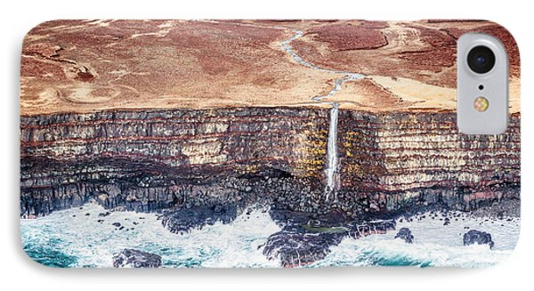 Icelandic Coast Waterfall - Iceland Aerial Photograph IPhone Case by Duane Miller