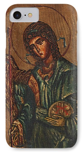 Icon Of Archangel Michael - Painting On The Wood Phone Case by Nenad Cerovic