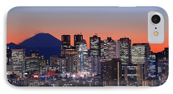 Iconic Mt Fuji With Shinjuku Skyscrapers IPhone 7 Case by Duane Walker
