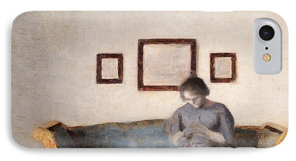 Ida Hammershoi Sitting On A Sofa IPhone Case by Vilhelm Hammershoi