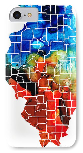Illinois - Map Counties By Sharon Cummings IPhone Case by Sharon Cummings