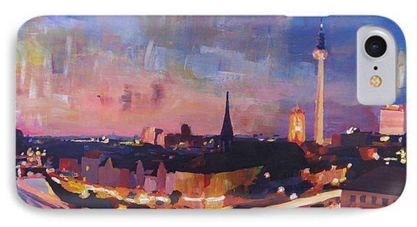 Illuminated Berlin Skyline At Dusk  Phone Case by M Bleichner