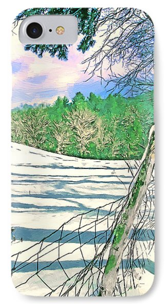 Impressions Of A Snow Covered Farm Phone Case by John Haldane