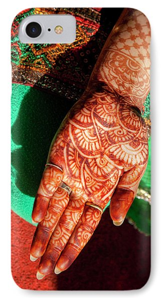 Indian Henna Tattoo Design On Hand IPhone Case by Charles O. Cecil