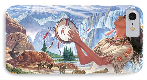 Indian Squaw And The Wolves Phone Case by Steve Crisp