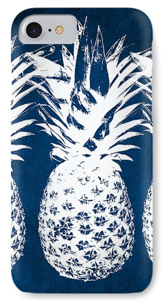 Indigo And White Pineapples IPhone Case by Linda Woods