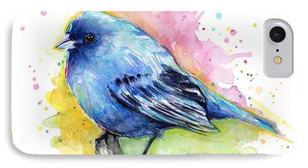 Indigo Bunting Blue Bird Watercolor IPhone 7 Case by Olga Shvartsur