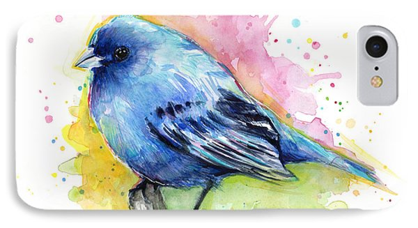 Indigo Bunting Blue Bird Watercolor IPhone Case by Olga Shvartsur