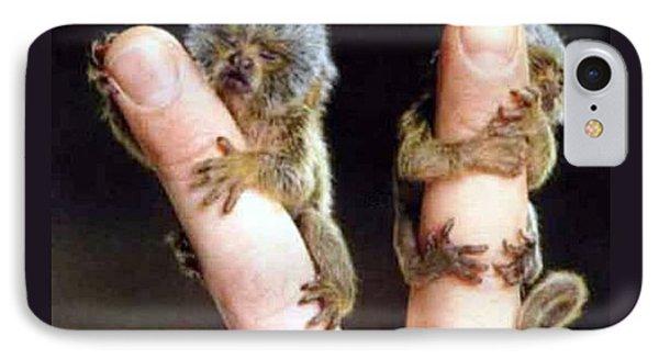 Infant Finger Monkeys Violet Border IPhone Case by L Brown