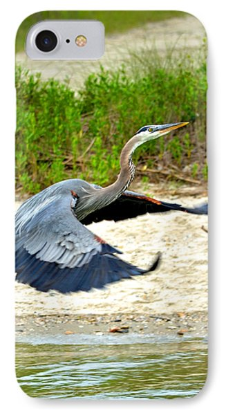 Inflight Great Blue Heron Phone Case by Sandi OReilly