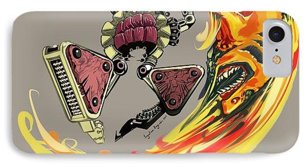 Insane Warriors - Shark Wielding Robot IPhone Case by Augustinas Raginskis