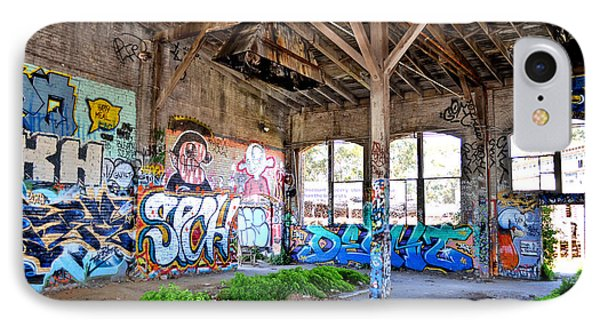 Inside The Old Train Roundhouse At Bayshore Near San Francisco And The Cow Palace II Phone Case by Jim Fitzpatrick