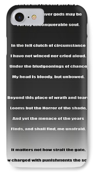 Invictus By William Ernest Henley IPhone Case by Daniel Hagerman