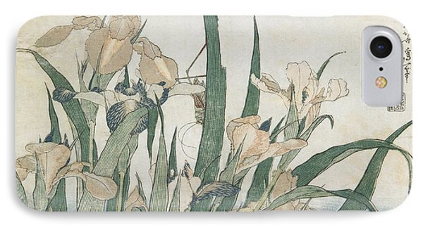 Iris Flowers And Grasshopper IPhone Case by Hokusai