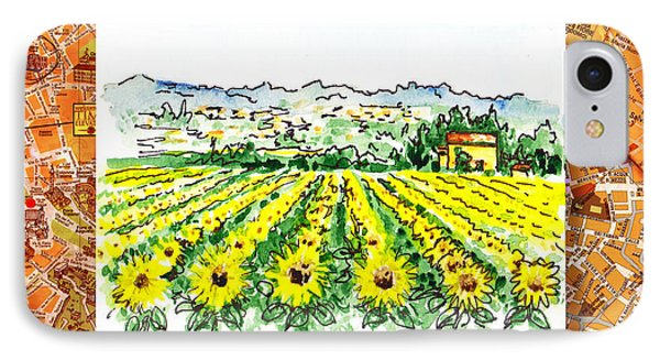 Italy Sketches Sunflowers Of Tuscany Phone Case by Irina Sztukowski